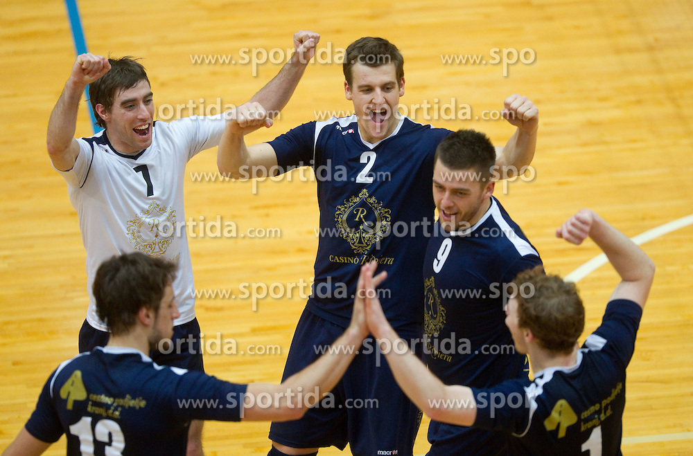 Players of Kropa celebrate during volleyball match between ACH Volley and UKO Kropa at Finals of Slovenian Cup 2010, on December 21, 2010 in Dvorana OS, Nova Gorica, Slovenia. ACH Volley defeated Kropa 3-0 and become Slovenian Cup Champion. (Photo By Vid Ponikvar / Sportida.com)