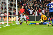 England's Raheem Sterling scores England's 2nd goal during the UEFA European 2016 Qualifier match between England and Estonia at Wembley Stadium, London, England on 9 October 2015. Photo by Shane Healey.