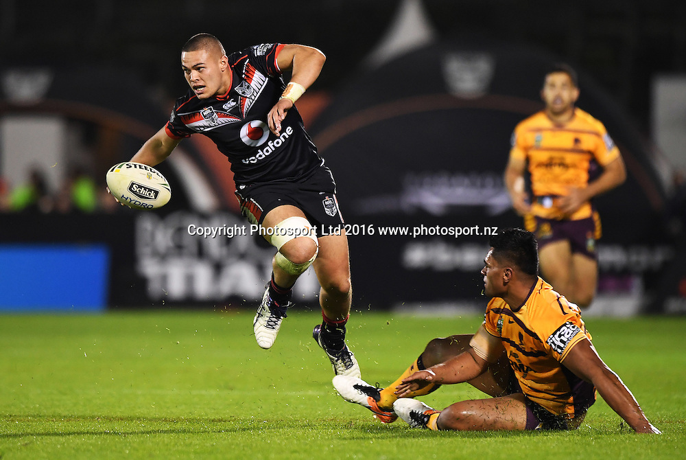 Vodafone Warriors v Brisbane Broncos, NRL Rugby League. Mt Smart Stadium, Auckland, New Zealand. Saturday 3 June 2016. © Copyright Photo: Andrew Cornaga / www.Photosport.nz