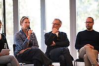 DEU, Deutschland, Germany, Berlin, 17.04.2018: V.l.n.r. Tanja Haeusler, Johnny Haeusler, Markus Beckedahl (GründerInnen re:publica), bei einer Pressekonferenz zur Vorstellung des Programms der republica Konferenz und Media Convention Berlin.