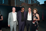 HANS ULRICK OBRIST; RAYE COSBERT; TIM JEFFERIES; JULIA PEYTON-JONES;  ,  The Summer Party. Serpentine Gallery. 8 July 2010. -DO NOT ARCHIVE-© Copyright Photograph by Dafydd Jones. 248 Clapham Rd. London SW9 0PZ. Tel 0207 820 0771. www.dafjones.com.