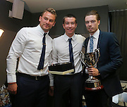 Craig Wighton is presented with the Isobel Sneddon Trophy as Dundee DFC's Young Player of the Year by Dundee under 20s coach Eddie Johnson and last year's winner Cammy Kerr at Dundee Supporters Association player of the year awards at the Apex Hotel<br /> <br />  - &copy; David Young - www.davidyoungphoto.co.uk - email: davidyoungphoto@gmail.com
