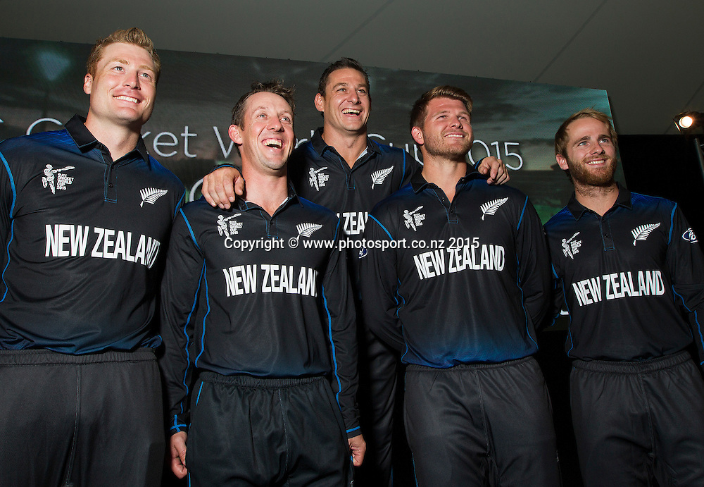 Martin Guptill, Luke Ronchi, Nathan McCullum, Trent Boult, Corey Anderson and Kane Williamson following the Black Caps Cricket World Cup team naming held in the Hagley Pavillion in Christchurch. 8 January 2015 Photo: Joseph Johnson / www.photosport.co.nz
