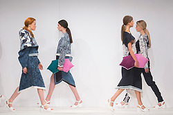 © Licensed to London News Pictures. 01/06/2015. London, UK. Collection by Laura Mallows. Fashion show of Bath Spa University at Graduate Fashion Week 2015. Graduate Fashion Week takes place from 30 May to 2 June 2015 at the Old Truman Brewery, Brick Lane. Photo credit : Bettina Strenske/LNP