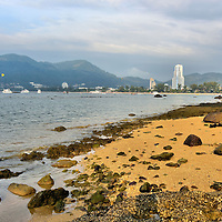 Patong Bay at Low Tide in Phuket, Thailand<br />
