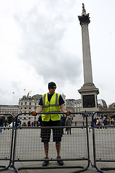 © Licensed to London News Pictures. 16/04/2013. London, UK. Barriers are being placed at Trafalgar square a day before the funeral of former Prime Minister Margaret Thatcher, on April 16, 2013 in London. Photo credit : Peter Kollanyi/LNP