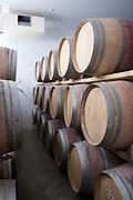 Wine barrel storage in a winery wine cellar