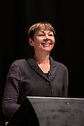 Caroline Lucas of the Green party, MP for Brighton Pavillion,  speaking at a fringe event at the TUC congress 2015. Brighton, UK.
