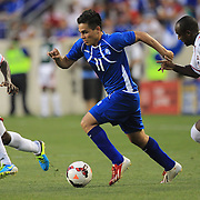 Rodolfo Zelaya, El Salvador, in action during the El Salvador Vs Trinidad and Tobago CONCACAF Gold Cup group B football match at Red Bull Arena, Harrison, New Jersey. USA. 8th July 2013. Photo Tim Clayton