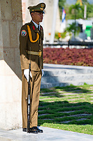 Guard at Fidel Castro's gravesite. Cuba 2020 from Santiago to Havana, and in between.  Santiago, Baracoa, Guantanamo, Holguin, Las Tunas, Camaguey, Santi Spiritus, Trinidad, Santa Clara, Cienfuegos, Matanzas, Havana