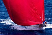 Adela sailing in the St. Barth's Bucket regatta, day three.