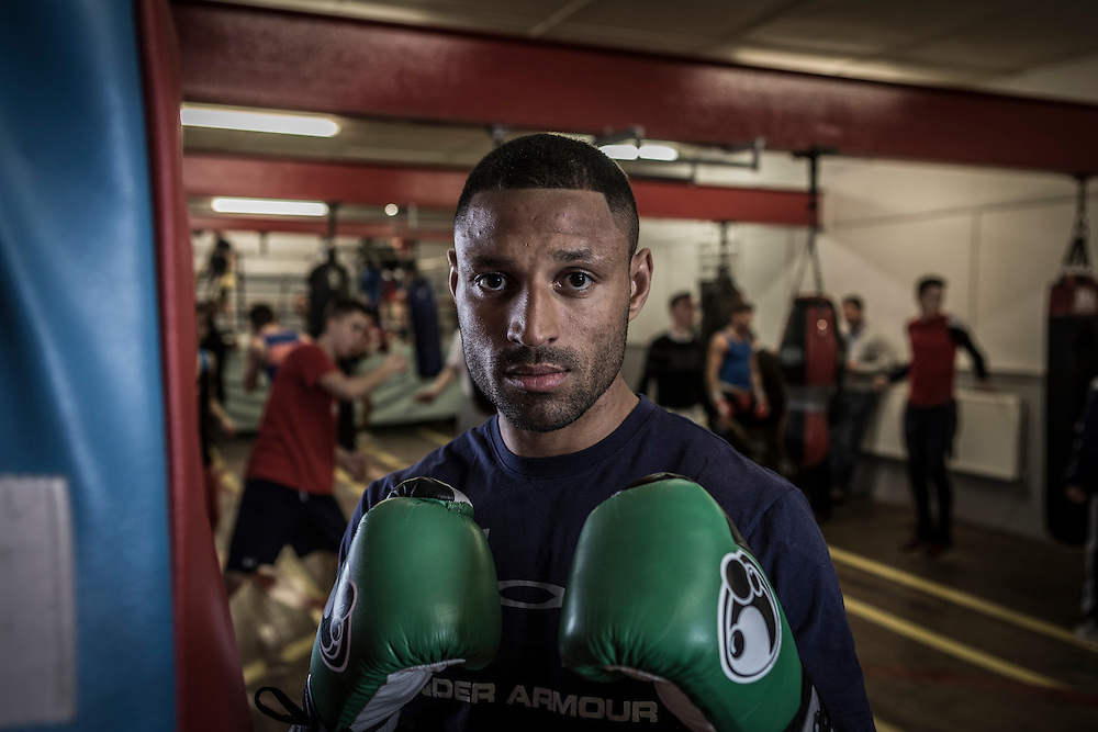 IBF Welterweight World Champion Kell Brook prepares to defend his title on Sat 28/March against Jo Jo Dan in Sheffield. Pictured in the Wincobank Gym in Sheffield .