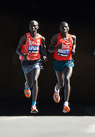 Wilson Kipsang Kenya & Stanley Biwott Kenya 1st & 2nd<br /> Athletes appear from the tunnel at the north end of Blackfriars Brdige during the Virgin Money London Marathon 2014 on Sunday 13 April 2014<br /> Photo: Paul Gregory/Virgin Money London Marathon<br /> media@london-marathon.co.uk