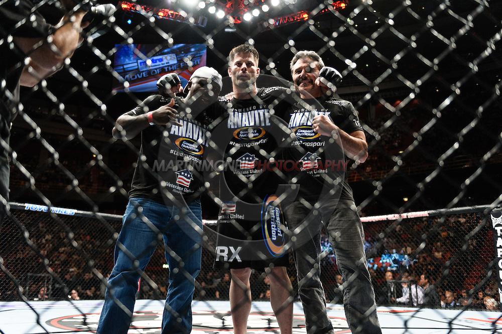 "STOCKHOLM, SWEDEN, APRIL 14:  Brian Stann (center) and cornermen during ""UFC on Fuel TV: Gustafsson vs. Silva"" inside the Ericsson Globe Arena in Stockholm, Sweden"