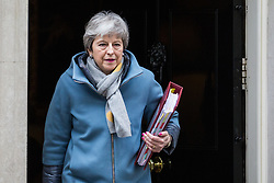 London, UK. 20th March, 2019. Prime Minister Theresa May leaves 10 Downing Street to attend Prime Minister's Questions in the House of Commons on the eve of her visit to Brussels to attend a European Council summit where EU27 leaders will have to agree the length and terms of any extension requested to Article 50.