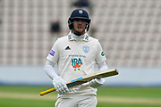 Sam Northeast of Hampshire walks off for lunch during the Specsavers County Champ Div 1 match between Hampshire County Cricket Club and Worcestershire County Cricket Club at the Ageas Bowl, Southampton, United Kingdom on 13 April 2018. Picture by Graham Hunt.