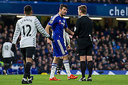 Diego Costa of Chelsea complains with the referee during the Barclays Premier League match between Chelsea and Everton at Stamford Bridge, London, England on 16 January 2016. Photo by Salvio Calabrese.