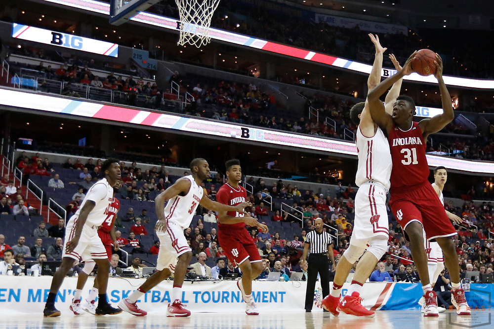Indiana center Thomas Bryant (31) in action as Indiana played Wisconsin in an NCCA college basketball game in the third round of the Big 10 tournament in Washington, D.C., Friday, March 10, 2017. (AJ Mast)