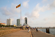 National flag and High rise buildings Galle Face Green, Colombo, Sri Lanka, Asia
