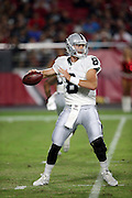 Oakland Raiders rookie quarterback Connor Cook (8) throws a pass during the 2016 NFL preseason football game against the Arizona Cardinals on Friday, Aug. 12, 2016 in Glendale, Ariz. The Raiders won the game 31-10. (©Paul Anthony Spinelli)