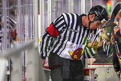 Referee bleeding during Ice Hockey match between National Teams of Great Britain and Slovenia in Round #1 of 2018 IIHF Ice Hockey World Championship Division I Group A, on April 22, 2018 in Budapest, Hungary. Photo by David Balogh / Sportida