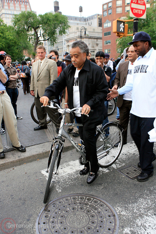 Rev. Al Sharpton at the Critical Mass and The National Action Network(NAN) join forces for The Critical Mass monthly civil disobedience ride to protest the Not Gulity verdict of NYPD shooting death of Sean Bell, and critically injuring Joseph Guzman and Trent Benefield at 14th Streeet Union Square on May 30, 2008 ..Critical Mass is an event typically held on the last Friday of every month in cities around the world where bicyclists and other self-propelled commuters take to the streets en masse. While the ride was originally founded with the idea of drawing attention to how unfriendly the city was to bicyclists,[1] the leaderless structure of Critical Mass makes it impossible to assign it any one specific goal. In fact, the purpose of Critical Mass is not formalized beyond the direct action of meeting at a set location and time and traveling as a group through city or town streets.