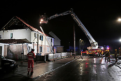 © Under licence to London News Pictures. 19/02/2018 Firfighters at the scene of a suspected gas explosion in Wordsworth Road Darlington in which one man was taken to hospital with serious injuries. Photo Credit: Stuart Boulton/LNP