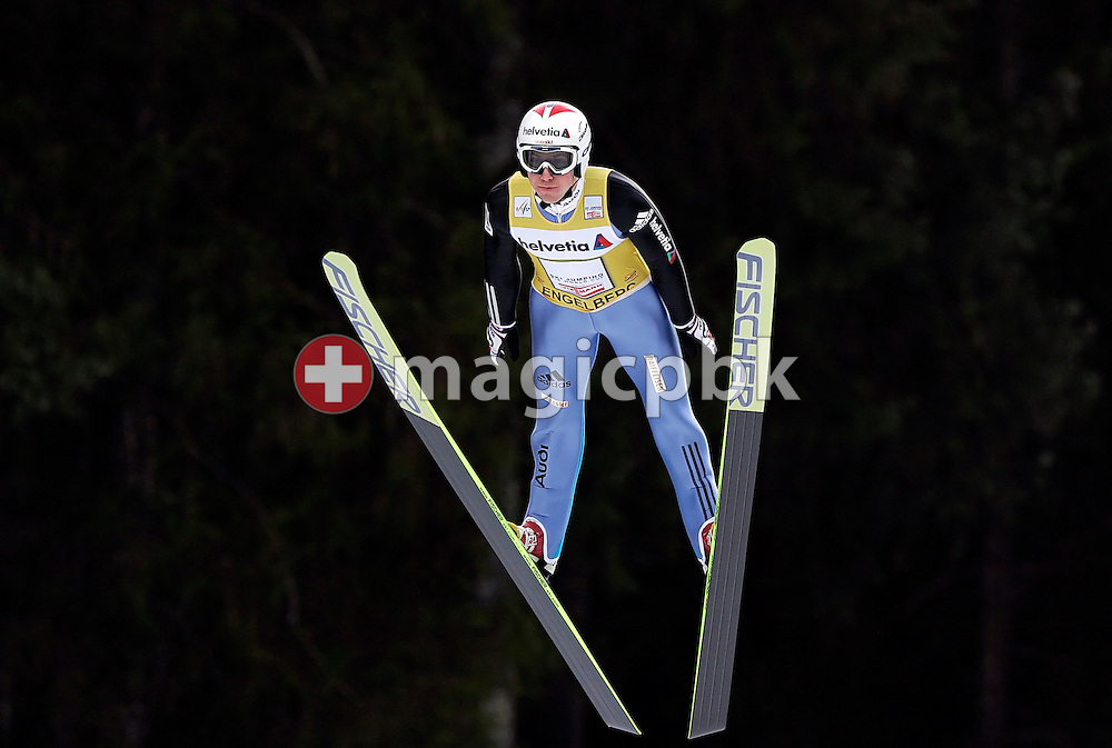 Later third placed Simon (Simi) Ammann of Switzerland during his first jump at the Ski Jumping World Cup in Engelberg, Switzerland, Sunday, Dec. 21, 2008. (Photo by Patrick B. Kraemer / MAGICPBK)