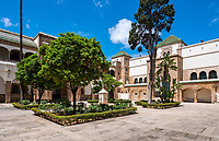 CASABLANCA, MOROCCO - CIRCA APRIL 2018: Courtyard of the Mahkama du Pacha in Casablanca. This is an administrative building constructed 1941-1942 in the Hubous neighborhood of Casablanca. The complex serves or has served as a courthouse, residence of the pasha (governor), parliamentary reception hall, and jail.