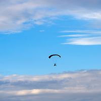 070913  Adron Gardner/Independent<br /> <br /> Cibola County Sheriff John Valdez pilots a Silver Lining Aviation powered parachute near the Grants-Milan Municipal Airport Tuesday.