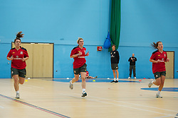 TREFOREST, WALES - Tuesday, February 14, 2011: Wales' Danielle Oates, Amy Lea and Angharad James during a fitness testing day at the Glamorgan Sports Park. (Pic by David Rawcliffe/Propaganda)