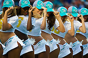 The Miami Dolphins cheerleaders entertain during a pause in play against the Buffalo Bills at Sun Life Stadium on Sunday, Sept. 27, 2015, in Miami Gardens.