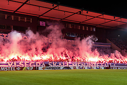 February 14, 2019 - MalmÅ, Sweden - 190214 Pyro from the supporters of MalmÅ¡ FF ahead of the Europa league match between MalmÅ¡ FF and Chelsea on February 14, 2019 in MalmÅ¡..Photo: Ludvig Thunman / BILDBYRN / kod LT / 92225 (Credit Image: © Ludvig Thunman/Bildbyran via ZUMA Press)