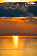 South America, Peru, Lake Titicaca, Suasi Island,sunset