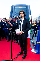 Italian Minister of Infrastructures and Transports Danilo Toninelli speaks at the launch of the Rock train as Hitachi Rail exhibit at InnoTrans 2018 - Rogan/JMP - 18/09/2018 - PR - Messe Berlin - Berlin, Germany.