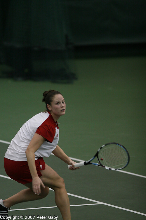 Caitlin Burke during doubles play at the 2007 USTA/ITA National Women's Team Indoor Championships at the Nielsen Tennis Stadium, Feb. 1st-4th hosted by the University of Wisconsin.