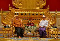 Myanmar's outgoing president U Thein Sein (R) meets with newly-elected President of Myanmar U Htin Kyaw during the president power handover ceremony at the Presidential Palace in Nay Pyi Taw, Myanmar, March 30, 2016. EXPA Pictures © 2016, PhotoCredit: EXPA/ Photoshot/ Xinhua<br /> <br /> *****ATTENTION - for AUT, SLO, CRO, SRB, BIH, MAZ, SUI only*****