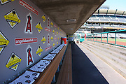 ANAHEIM, CA - JULY 05:  General view of the visitors dugout at the Los Angeles Angels of Anaheim game against the Baltimore Orioles at Angel Stadium on Sunday, July 5, 2009 in Anaheim, California.  The Angels defeated the Orioles 9-6.  (Photo by Paul Spinelli/MLB Photos via Getty Images)