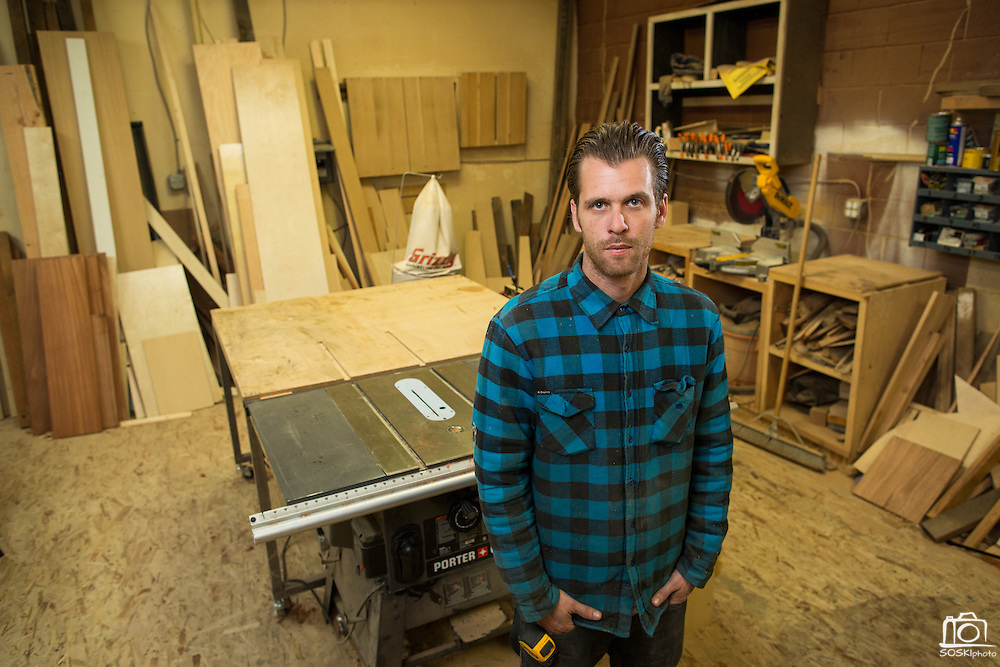 Chris Patton of Patton Design poses for a portrait at his studio in Campbell, California, on November 13, 2015. (Stan Olszewski/SOSKIphoto)