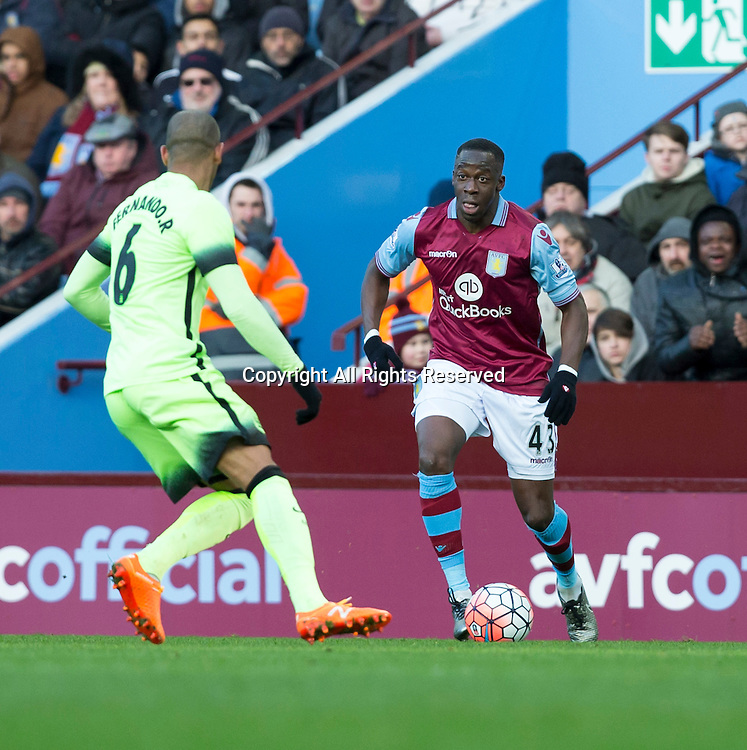 30.01.2016. Villa Park, Birmingham, England. Emirates FA Cup 4th Round. Aston Villa versus Manchester City. Aston Villa's Aly Cissokho looks to take on Fernando of City