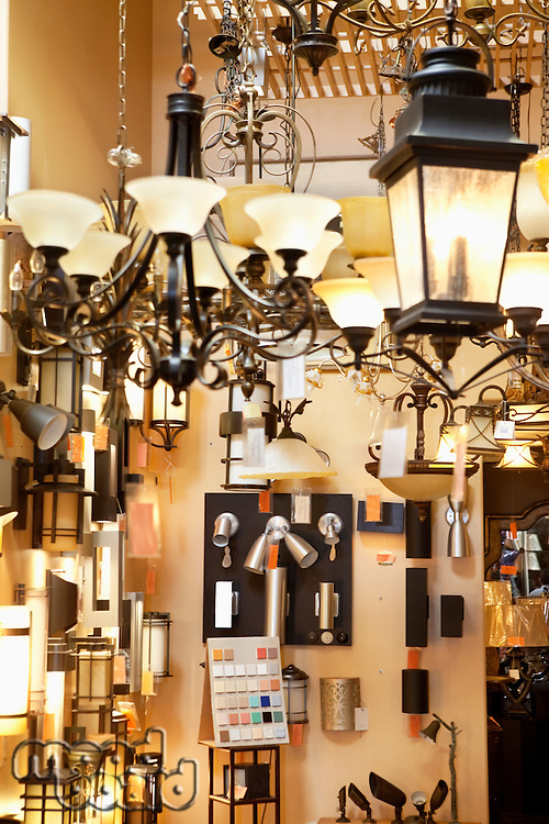 Lighting equipments on display in store