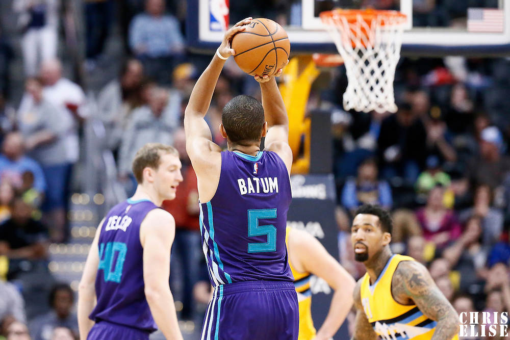 04 March 2017: Charlotte Hornets guard Nicolas Batum (5) takes a jump shot during the Charlotte Hornets 112-102 victory over the Denver Nuggets, at the Pepsi Center, Denver, Colorado, USA.