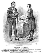 """Bung"" in Africa. Right Hon J Ch-mb-rl-n (to King Khama). ""'Local veto' for Bechuanaland? H'm!—A rather ticklish business! Upset a government here the other day!"" [""Khama, the Bechuana chief, arrived in England and was received by Mr Chamberlain at the colonial office....He desires to be assured in the power of excluding intoxicants absolutely from the territories.""—The Times.]"