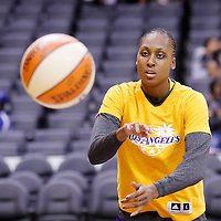 15 August 2014: Los Angeles Sparks forward/center Sandrine Gruda (7) warms up prior to the Los Angeles Sparks 77-65 victory over the Seattle Storm, at the Staples Center, Los Angeles, California, USA.