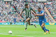 Jake Jervis of Plymouth Argyle holds off a challenge from Darius Charles of AFC Wimbledon during the Sky Bet League 2 Play-off Final at Wembley Stadium, London<br /> Picture by Matt Wilkinson/Focus Images Ltd 07814 960751<br /> 30/05/2016