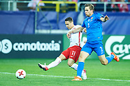 Lublin, Poland - 2017 June 16: (L) Przemyslaw Frankowski from Poland U21 fights for the ball with (R) Branislav Ninaj from Slovakia U21 while Poland v Slovakia match during 2017 UEFA European Under-21 Championship at Lublin Arena on June 16, 2017 in Lublin, Poland.<br /> <br /> <br /> Mandatory credit:<br /> Photo by © Adam Nurkiewicz / Mediasport<br /> <br /> Adam Nurkiewicz declares that he has no rights to the image of people at the photographs of his authorship.<br /> <br /> Picture also available in RAW (NEF) or TIFF format on special request.<br /> <br /> Any editorial, commercial or promotional use requires written permission from the author of image.