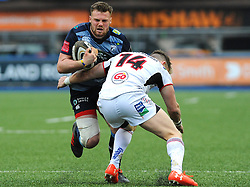 Craig Gilroy of Ulster Rugby tackles Scott Andrews of Cardiff Blues - Mandatory by-line: Nizaam Jones/JMP- 24/03/2018 - RUGBY - BT Sport Cardiff Arms Park- Cardiff, Wales - Cardiff Blues v Ulster Rugby - Guinness Pro 14