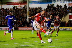 James O'Connor of Walsall scores a goal to level the match at 1-1 going into half time - Mandatory byline: Rogan Thomson/JMP - 07966 386802 - 23/09/2015 - FOOTBALL - Bescot Stadium - Walsall, England - Walsall v Chelsea - Capital One Cup.
