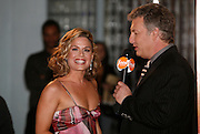 Iron Chef Cat Cora (left), is interviewed by Marc Summers before the First Food Network Awards Show at the Jackie Gleason Theater  of the Performing Arts, in Miami, FL on  Feb 23, 2007.  (Photo/Lance Cheung) <br /> <br /> PHOTO COPYRIGHT 2007 LANCE CHEUNG<br /> This photograph is NOT within the public domain.<br /> This photograph is not to be downloaded, stored, manipulated, printed or distributed with out the written permission from the photographer. <br /> This photograph is protected under domestic and international laws.