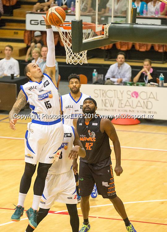 Saint's Leon Henry denies a basket. Hawkes Bay Hawks v Wellington Saints,NBL basketball, PG Arena, Napier, New Zealand. Sunday, 13 March 2016. Copyright photo: John Cowpland / www.photosport.nz